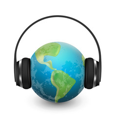 music planet earth with headphones vector image