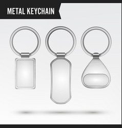 Realistic template metal keychain set 3d vector