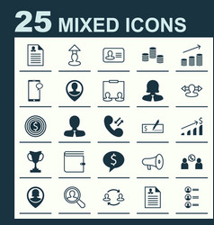 Resources icons set collection of deal talking vector