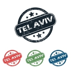 Round tel aviv stamp set vector