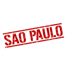 Sao paulo red square stamp vector