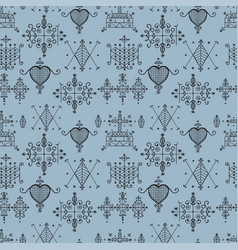 Seamless pattern with voodoo spirits symbols vector