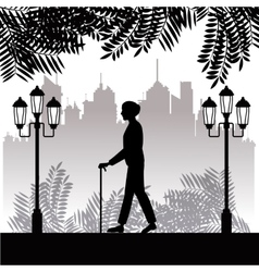 Silhouette elder man walk stick park twon vector