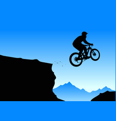 silhouette of a biker jumping from mountain ledge vector image