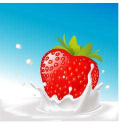 Splash of milk with big strawberry- with blu vector