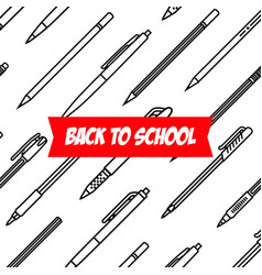 stationery collection writing tools pens and vector image vector image
