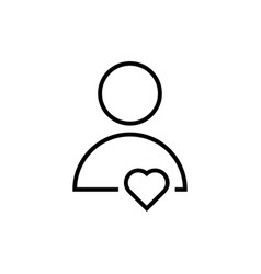 thin line user icon with heart vector image