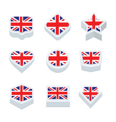 United kingdom flags icons and button set nine vector