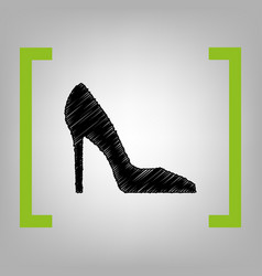 woman shoe sign black scribble icon in vector image