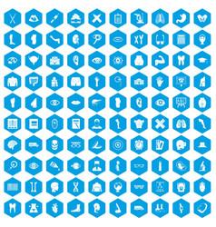100 anatomy icons set blue vector