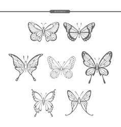 Set black butterflies isolate on white background vector image