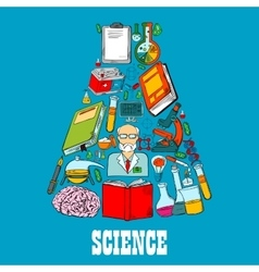 Chemistry flask emblem of science icons vector