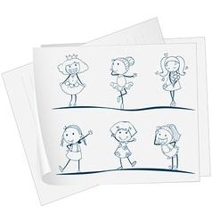 A paper with an image of six girls in different vector image