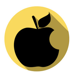 Bite apple sign flat black icon with flat vector