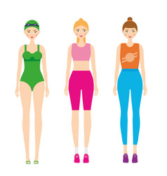 women in sportswear female in fitness clothes vector image