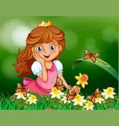 Cute princess in garden vector