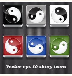 6 shiny icons with yin yang symbol vector