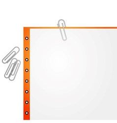 Metal paper clip and paper vector