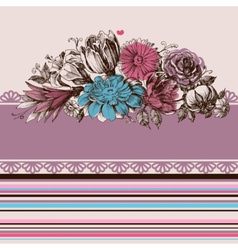 Retro wedding flower bouquets floral garden design vector