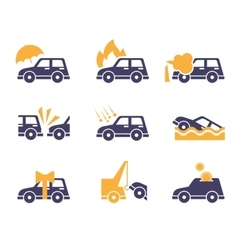 Car insurance icons in flat style vector