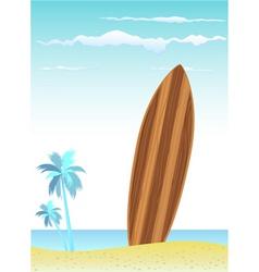wooden surfboard vector image