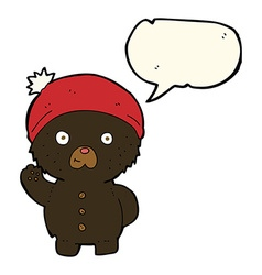 Cartoon waving black teddy bear in winter hat with vector