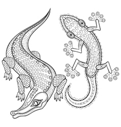 Hand drawn zentangled crocodile and lizard for vector