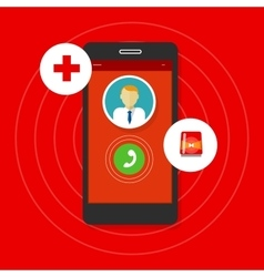 Health emergency call mobile phone vector