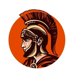 Ancient warrior in helmet symbol vector