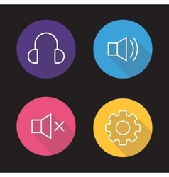 Audio player flat linear icons set vector image