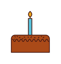 birthday cake with one candle celebration vector image