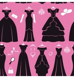 Black party dresses Silhouette seamless pattern vector image vector image