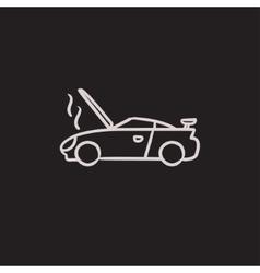 Broken car with open hood sketch icon vector image