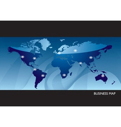 Business blue world map vector image vector image