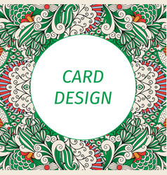 Card design with floral green pattern vector