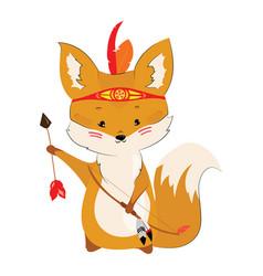 Cartoon chanterelle with an indian headdress made vector