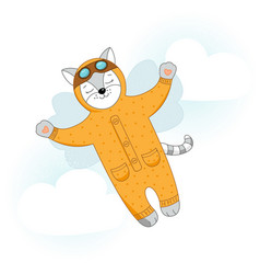 Cat with wings flying in the sky vector
