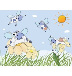Cheerful cows cartoon vector image