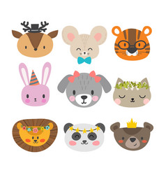 Cute animals with funny accessories set of hand vector