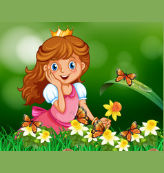 Cute princess in garden vector