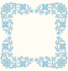 Design elements for cross-stitch embroidery vector image
