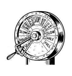 engine order telegraph engraving vector image vector image