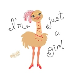 Fashionable ostrich chick T-shirt design vector image vector image
