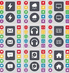 Flash Cloud Monitor Message Headphones Contact vector image vector image