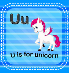 Flashcard letter u is for unicorn vector