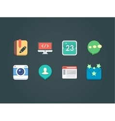 flat icons for web and mobile vector image vector image