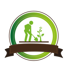 Green frame with man with shovel and tree and vector