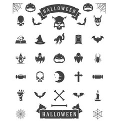 Halloween celebration icons and objects set retro vector