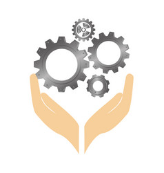 hands human with gear machine isolated icon vector image