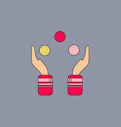 Hands juggling with balls vector